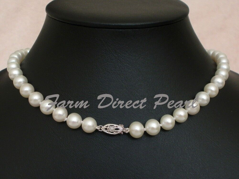 18 Inch AAAA+ Genuine 8-9mm White Pearl Necklace 14K White ...