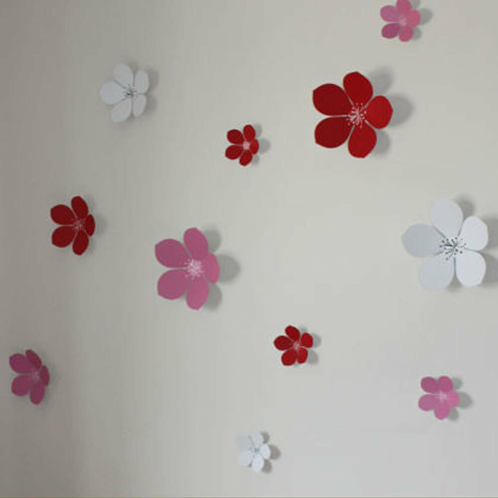 Wall Decor Stickers Stripes : D flower wall stickers decors art