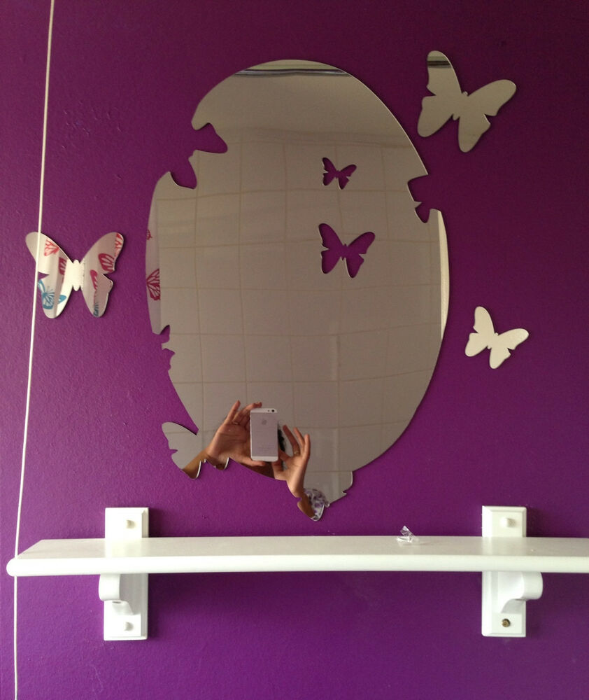 Butterfly Mirror Wall Decoration : Butterfly mirror acrylic wall stickers decors