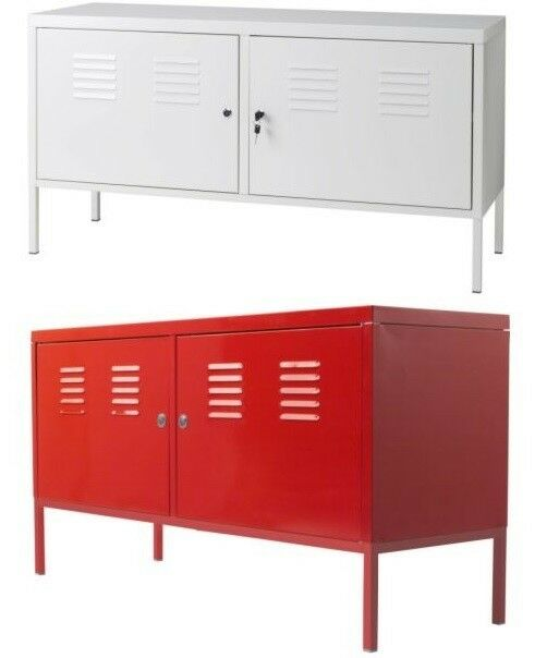 Ikea ps cabinet locker storage steel modern industrial tv for Metal lockers ikea