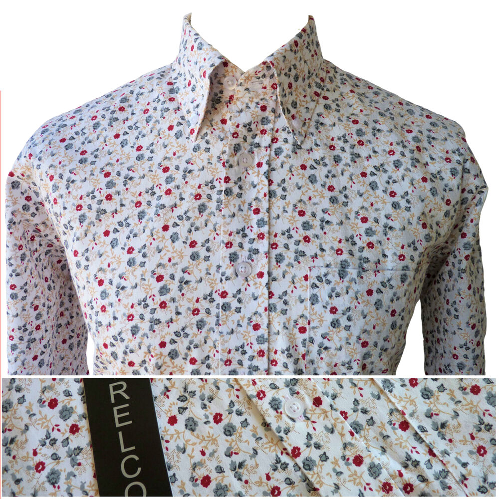 Relco Mens Floral Flower Print Shirt In White NEW Long
