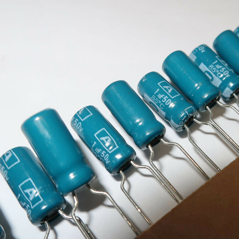1uf 50v Radial Electrolytic Capacitor 1mf Cap Blue Qty 25