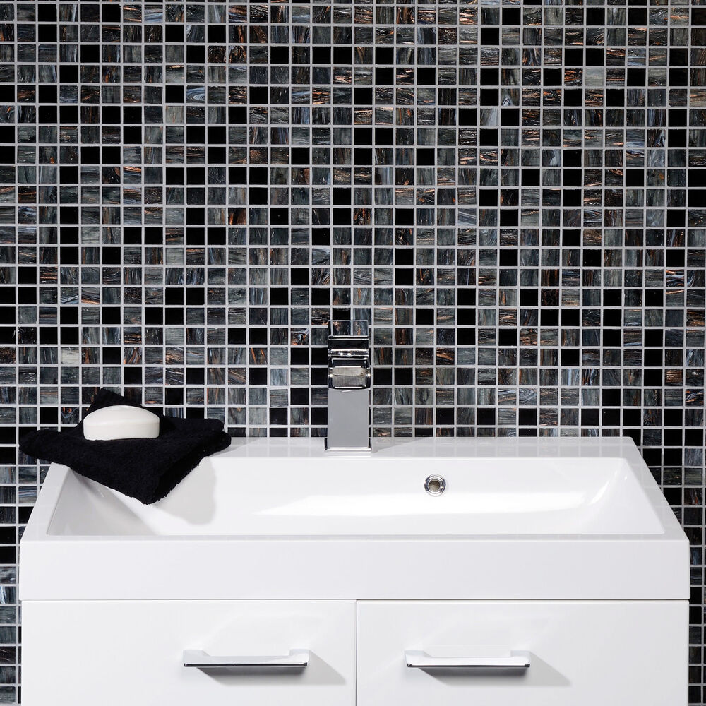 Solanas Contemporary Black Grey Glass Mosaic Bathroom Kitchen Wall Tiles