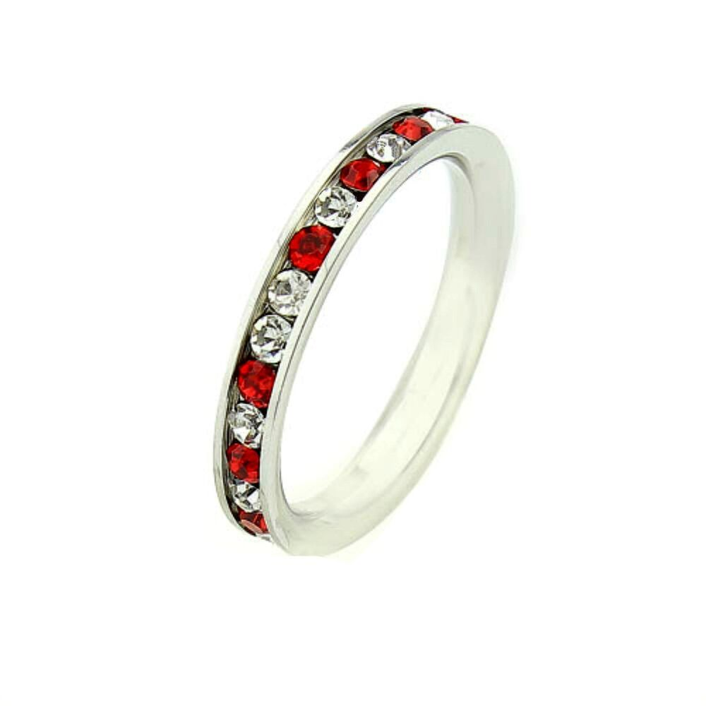 3mm ruby red white cz fire ice stainless steel. Black Bedroom Furniture Sets. Home Design Ideas
