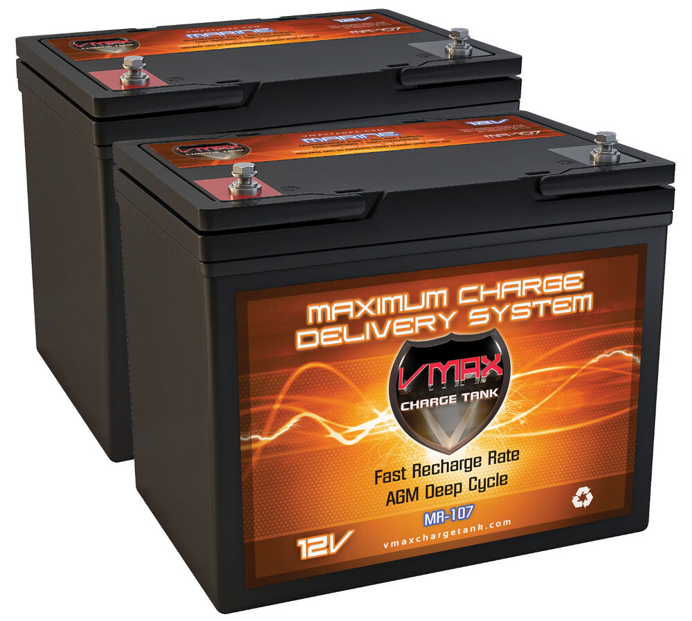 Qty2 Vmax Mr107 12v Agm Deep Cycle Battery Ideal For 24v