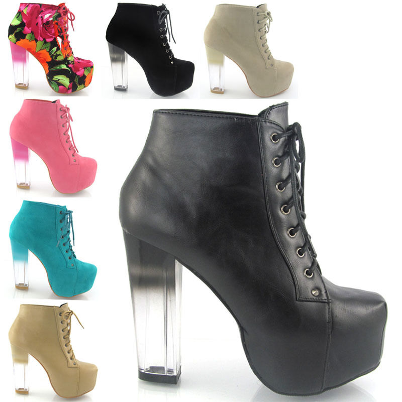 NEW WOMENS CLEAR HEEL ANKLE BOOTS LADIES CONCEALED PLATFORM HEEL ...