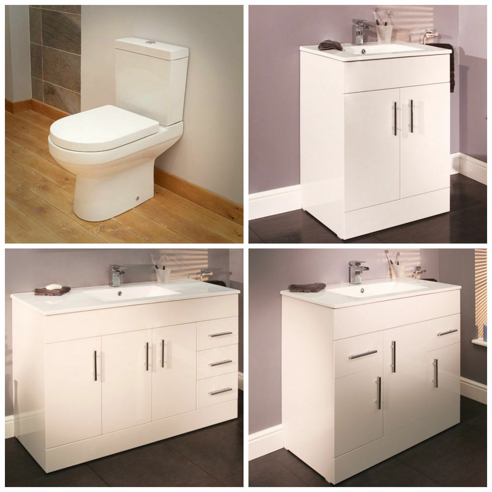 Modern ceramic toilet basin sink vanity storage for Contemporary bathroom suites