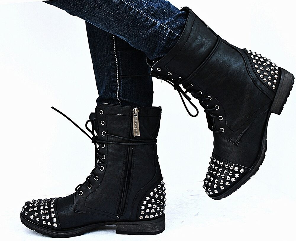 new womens bg28 black studded spike mid calf