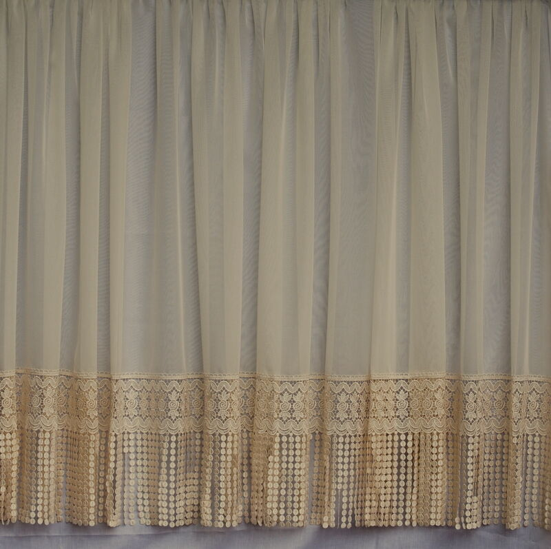 Net curtains and voiles net curtains butterfly white net - Emily Macrame Cream Straight Voile Net Curtain Custom Made