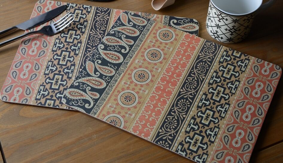 Set Of 6 Ethnic Gold Cork Back Placemats Table Mats By