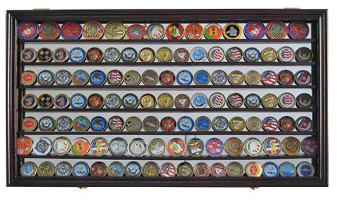 Challenge Coin Display Case Wall Shadow Box Cabinet With