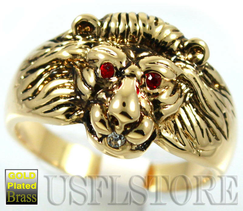 Ring With Lion Head Ruby Stone Gold