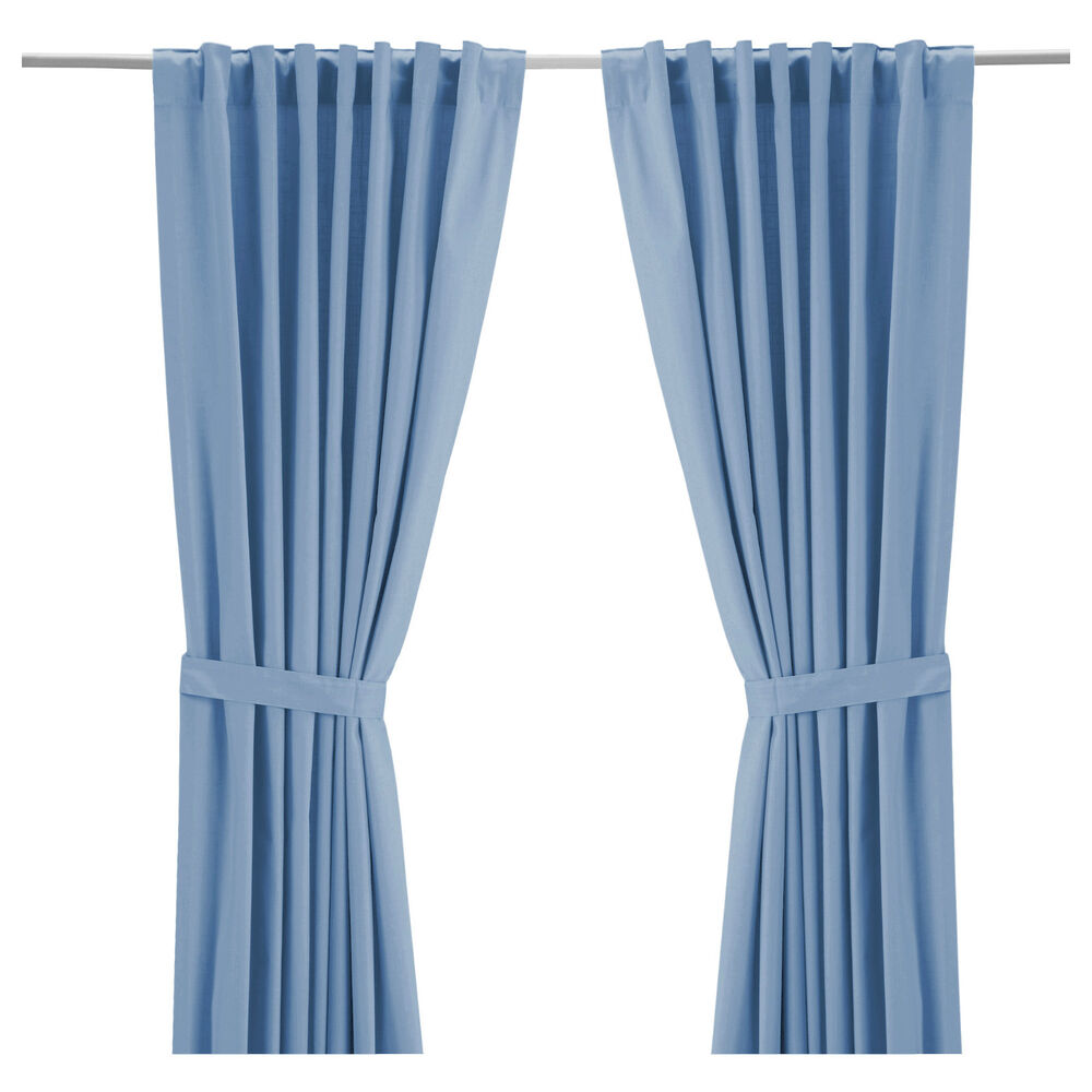 ikea ritva light blue window curtains cotton drapes 2 panels 98 hidden tab new ebay. Black Bedroom Furniture Sets. Home Design Ideas