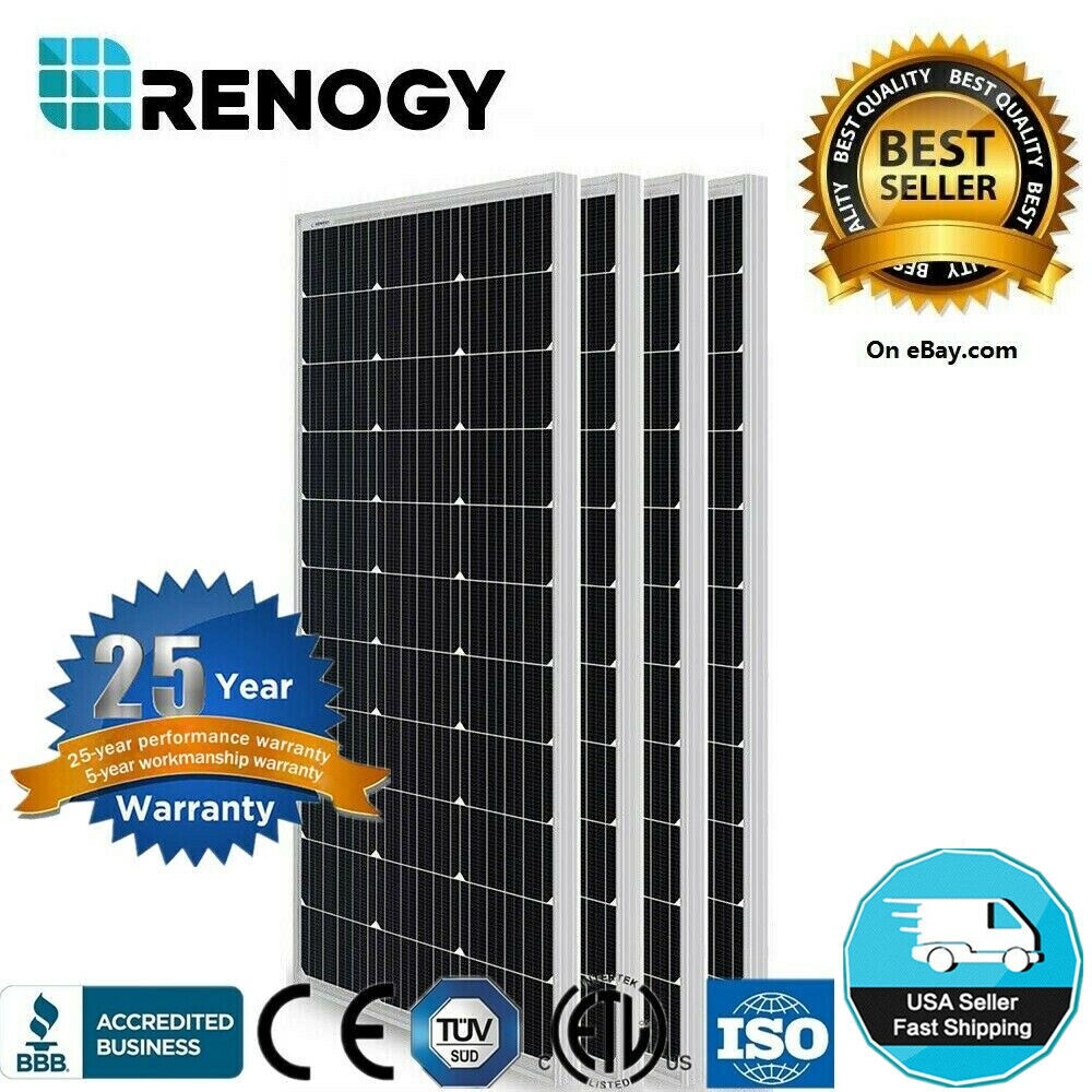 Renogy Solar Pv Panel 4pcs 100w 400 Watts Mono Off Grid