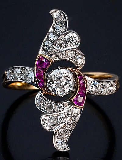 Art Deco Diamond And Ruby Platinum Gold Ring Vintage Russian C 1930 Ebay