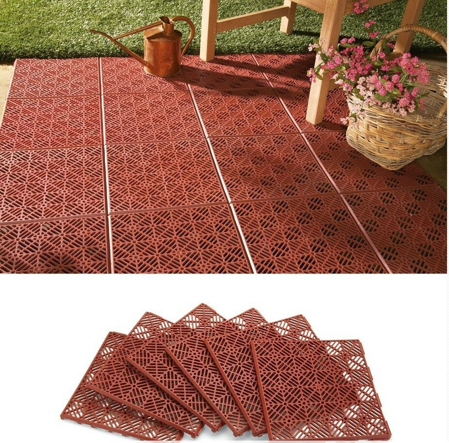 6 piece interlocking outdoor patio flooring tile set for Exterior floor tiles