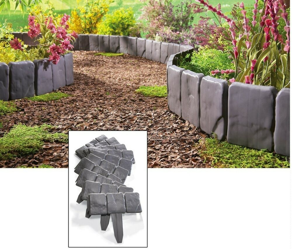 Interlocking faux stone border edging 10 piece garden for Decorative stone garden border