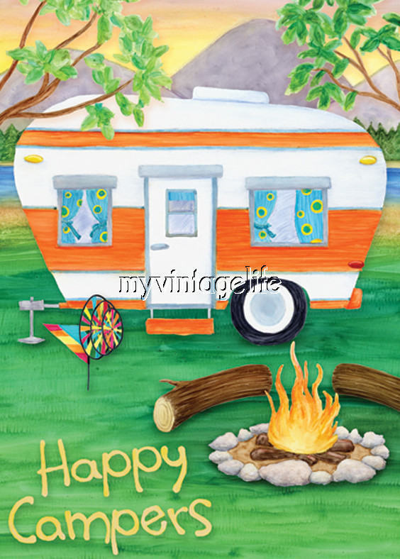 Colorful Happy Campers Quilting Fabric Block Ebay