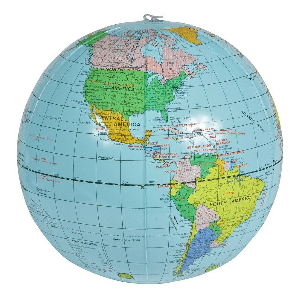 16 globe inflate earth world teacher beach ball toy free shipping ebay. Black Bedroom Furniture Sets. Home Design Ideas