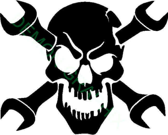 Skull With Cross Wrenches Vinyl Decal Sticker Ironworker