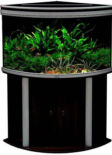 Aquatlantis ambiance 100 corner aquarium cabinet black for Fish tanks for sale ebay