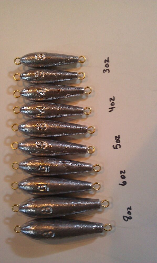10 in line trolling sinkers 2 of each 8oz 6oz 5oz 4oz for Inline fishing weights