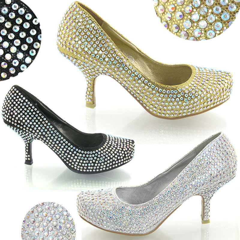 Black Sparkly Court Shoes