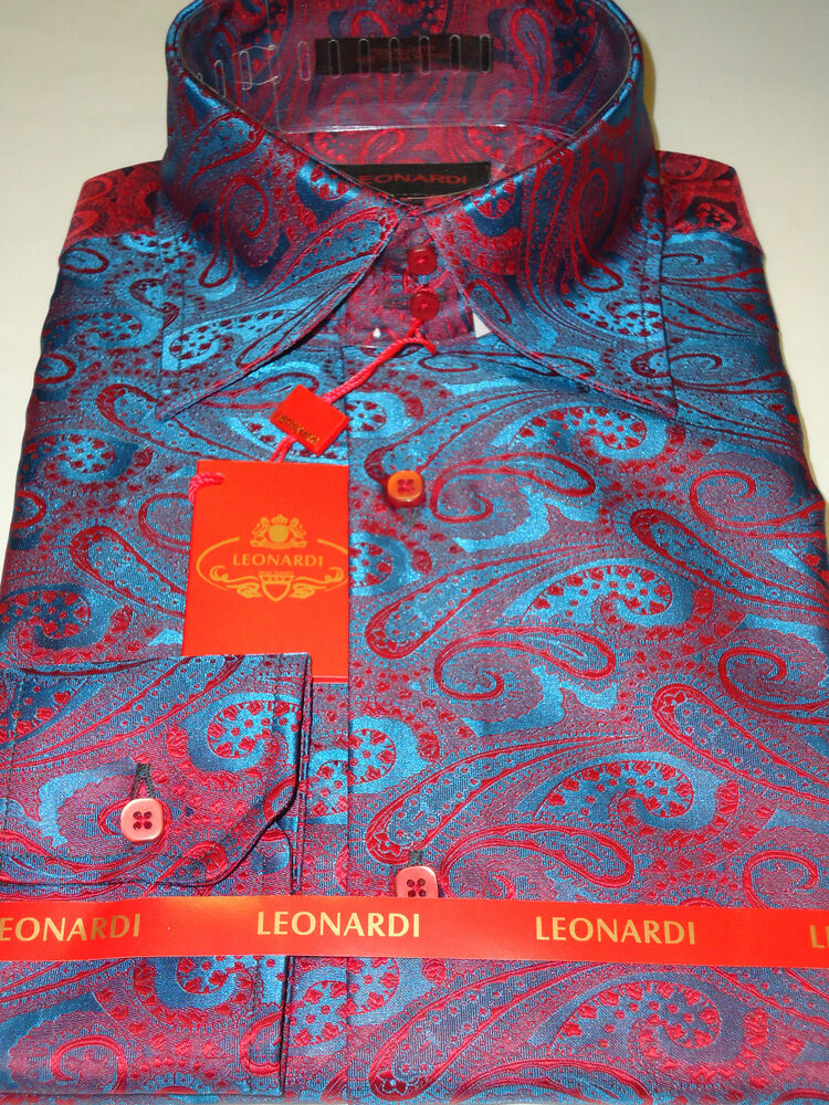 Mens leonardi dark teal turquoise cool red paisley high for Teal mens dress shirt