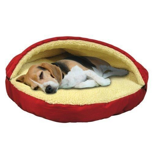 Pet Cave Dog Bed Top Zipper Dome Plush Sherpa Lining