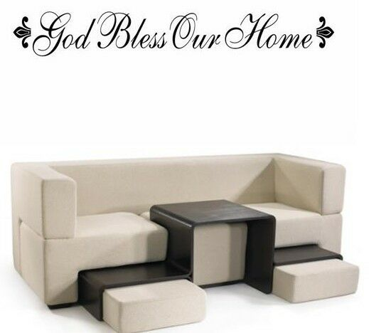 god bless our home words wall decal decor quote lettering. Black Bedroom Furniture Sets. Home Design Ideas
