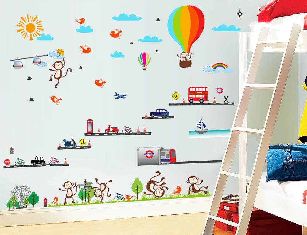 London Transport Balloon Monkey Bus Wall Sticker Decal