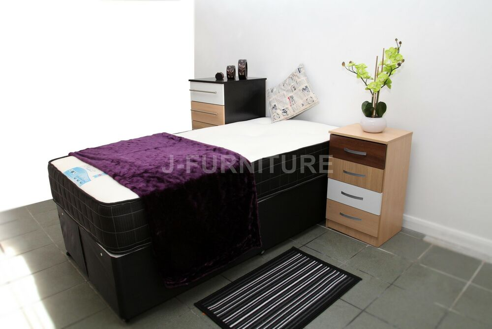 2ft6 or 3ft single divan bed with any type mattress for Single divan bed with slide storage