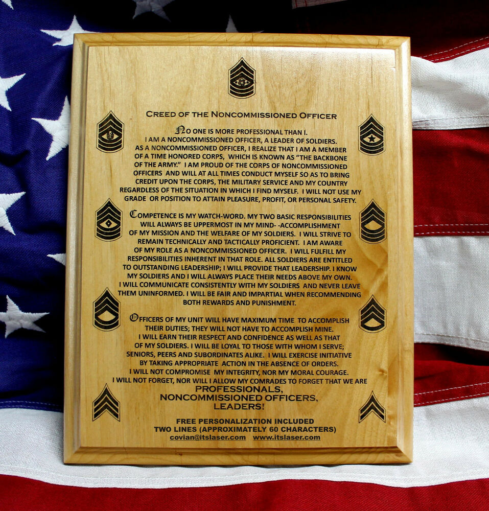 us army nco creed personalized plaque military graduation gift solid wood ebay. Black Bedroom Furniture Sets. Home Design Ideas