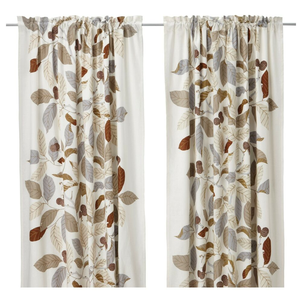 Ikea stockholm blad brown pair of curtains drapes 2 panels for Ikea drapes linen