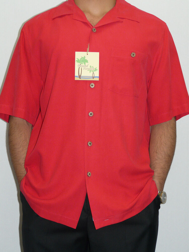 Mens Fire Red Fuji Silk Short Sleeves Shirt By Beyond