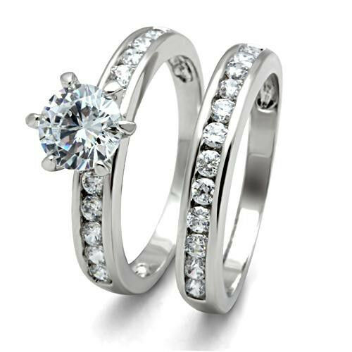 45 ct round cz engagement wedding set white gold ep ladies ring ebay