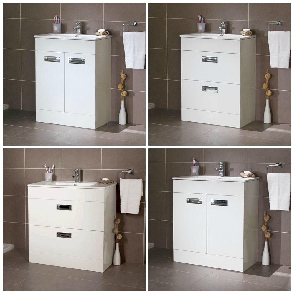 Gloss White Compact Cloakroom Freestanding Basin Vanity