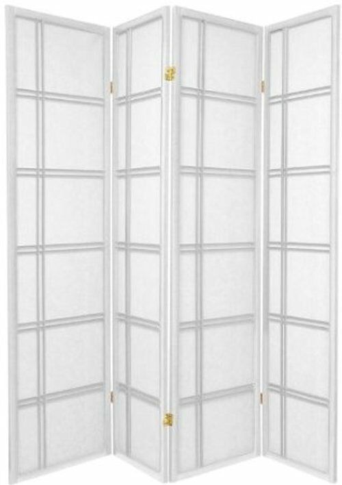 3 and 4 panel shoji screen room divider in white ebay - 3 panel screen room divider ...