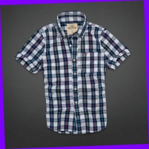 Hollister co small s mens dudes navy white plaid for Mixed plaid shirt mens