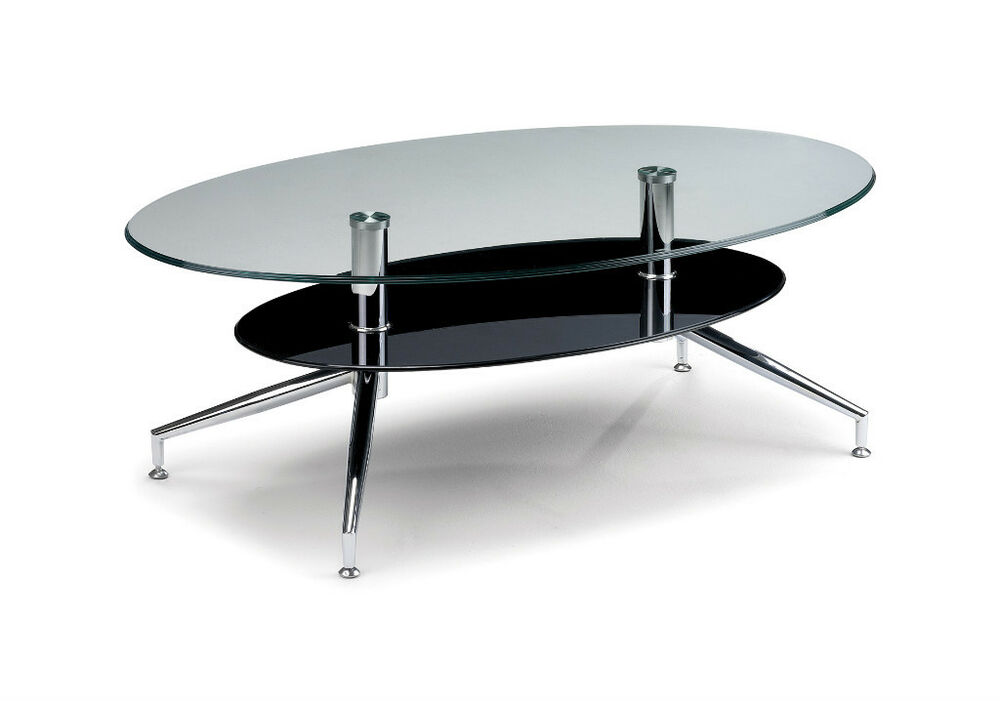 Oklahoma oval coffee table black glass and chrome ebay Black and chrome coffee table