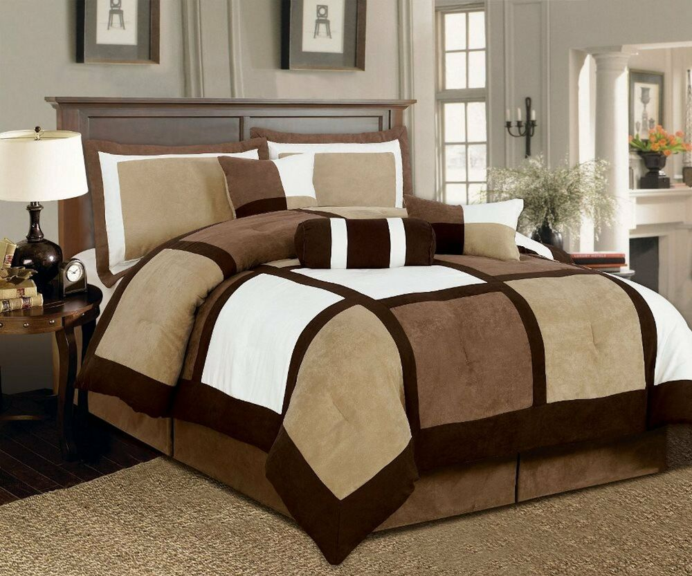 7 Pieces Brown & Beige Suede Patchwork Comforter Bedding