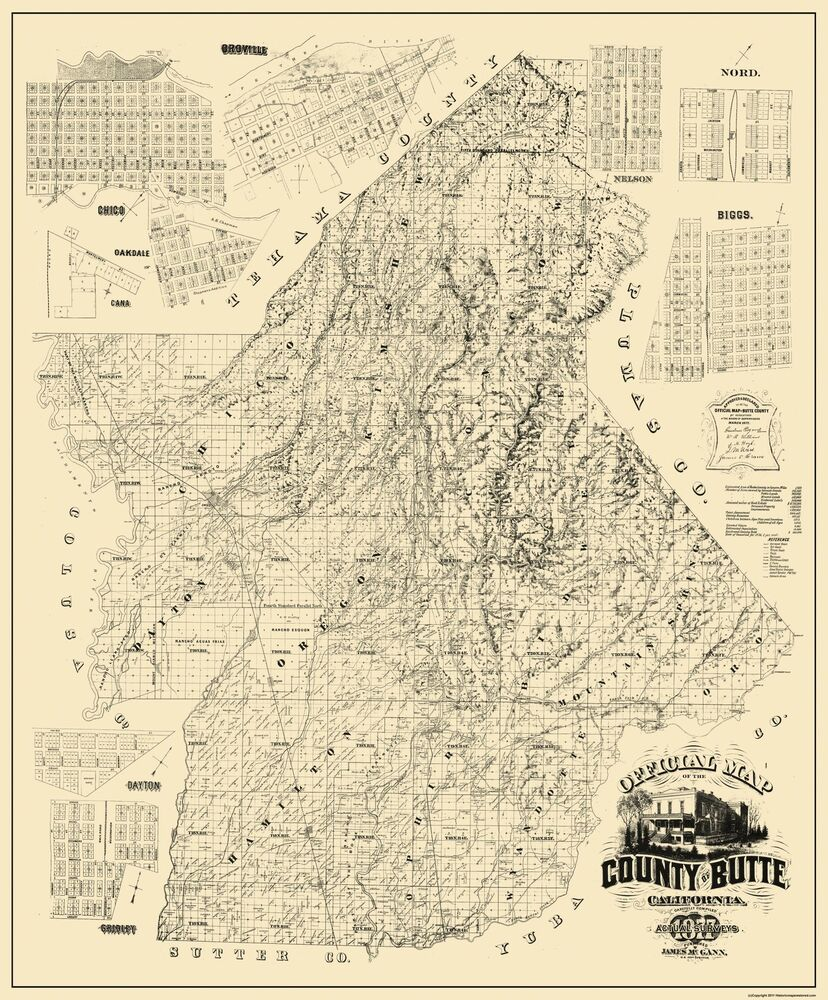 Old County Map - Butte Maryland Landowner - 1877 - 23 x 27 ...