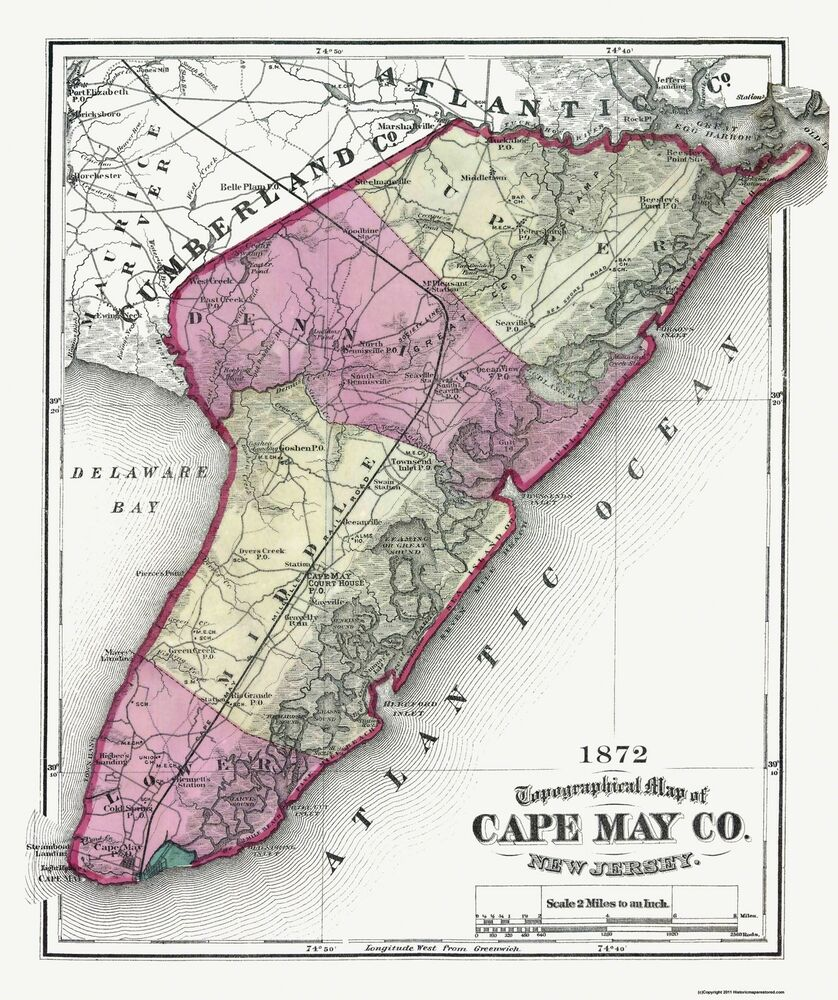 Old County Map  Cape May New Jersey  1872  23 X 2744