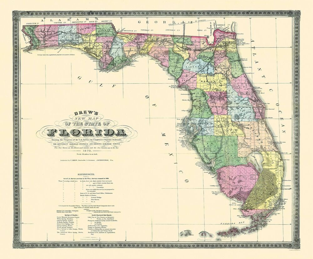 Old State Map Florida Drew 1870 X 23 Ebay
