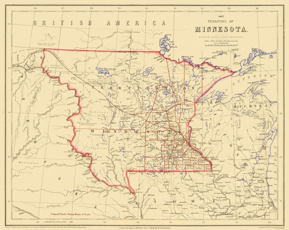 Old State Map - Minnesota Territory - Rogers 1857 - 28.94