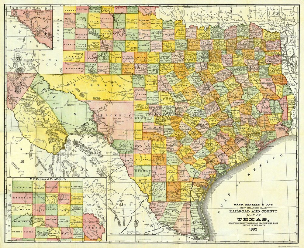 Map Of Texas Railroads.Old Railroad Map Texas Railroads And Counties Rand Mcnally 1882