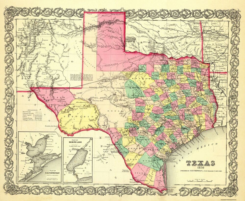 State Map Of Tx.Old State Map Texas Colton 1856 28 X 23 Ebay
