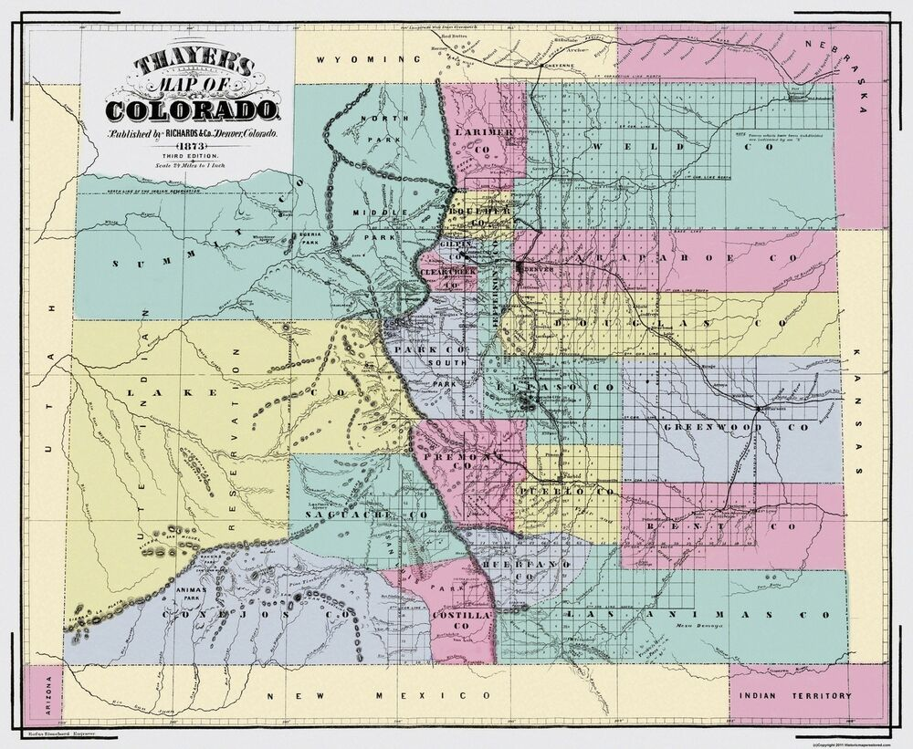 Old State Map  Colorado Territory  Richards 1873  28 X