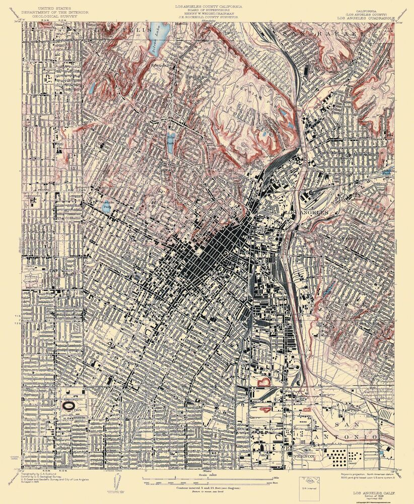 Topographical Map Print  Los Angeles California Quad