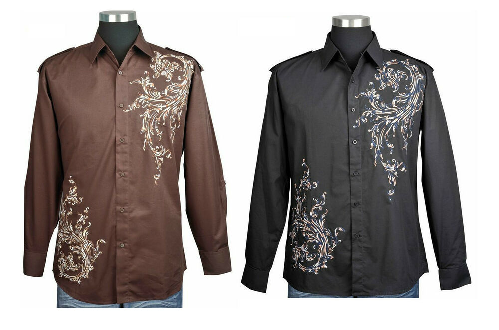 Cotton men s casual dress shirt with embroidered